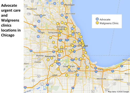 Advocate and WAG clinic locations map